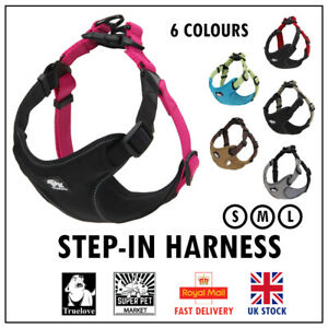 Step-in Dog Harness Truelove Safety Soft Adjustable Pink Black S M L 6 Colours