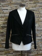 Steilmann Ladies Black Wool Blend Collarless Jacket ZIPPED Pockets Size 18