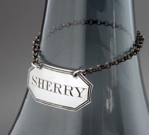 1807 Sterling Silver Georgian ELIZABETH MORLEY Decanter Bottle Label for SHERRY
