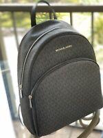 Michael Kors Women Abbey Large Travel School Leather Backpack Black Signature