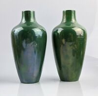 Rare Pair of Royal Doulton Green Lustre Vases No 853 c1920 Titanian Ware ?