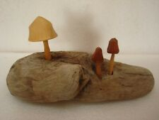 "Natural Freshwater Driftwood With Handmade Hardwood Mushrooms 8"" Long"