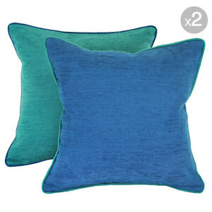 Set of 2. Bendigo Envy + Bendigo Azure Cushion Covers with Piping - 45x45cm