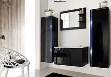 Badset Badmöbel Dream schwarz hochglanz LED Badmöbelset Badezimmermöbel  760