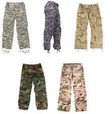WOMEN'S Camo Vintage Paratrooper Fatigues BDU Military Cargo Pants Ladies