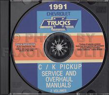 1991 Chevy CK Pickup Shop Manual Set on CD Truck 454SS Cheyenne Silverado Repair