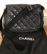 Authentic CHANEL Black Quilted Nylon/Leather Cross Body Handbag With Dustbag