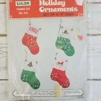 Christmas Stocking Ornament Sewing and Cross Stitch Kit makes 4