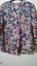 Silk/Cotton M&S Woman Navy Floral V Collarless Long Sleeve Blouse, sz18. Pretty!