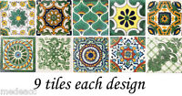 SPECIAL 90 Mexican Tiles Talavera Clay green colors 4x4 different designs #001