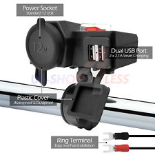 Waterproof Motorcycle 12V Dual USB Charger 5V Cigarette Lighter Handlebar Mount