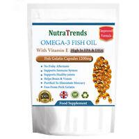 Fish Oil Omega 3 With Vitamin E. No Pork Gelatin 1200mg Softgels high in EPA,DHA