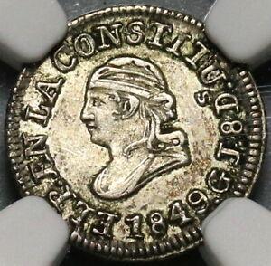 1849 NGC AU 53 Ecuador 1/4 Real Silver Liberty Quito Un Quarto Coin (20091901C)