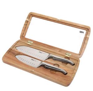 NEW Furi Pro East West Santoku Knife Set 2pc Stainless Steel Seamless