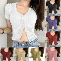 Summer Women Knitted Button Short Sleeve V-Neck Solid Slim Short Tops Blouse AU
