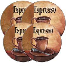 Electric Stove Top Range Round La Cafà Espresso Pattern Burner Covers, Set of 4