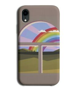 Rainbow Through A Window Phone Case Cover Arch Kids Cartoon Clouds Frame M659