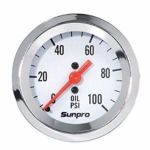 Sunpro Gauge, StyleLine, Oil Pressure, 0-100 psi, 2 in., Analog, Mechanical