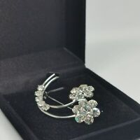 Vintage Silver Tone Floral Diamante Curved Brooch Pin Costume Jewellery