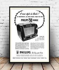 Cartel De Publicidad Antigua Phillips Radio: reproducción