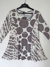 CHALONA %%% Long Shirt Tunika Lagenlook A-Linie Tupfen Streifen taupe-ecru 46-48