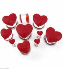 """PAIR-Glass Heart Red Double Flare Plugs 12mm/1/2"""" Gauge Body Jewelry"""