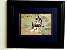 AMISH  PICTURE AMISH FAMILY HORSE BUGGY CHILDREN DUCKS MATTED FRAMED 8X10
