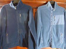LOT of 2 Croft & Barrow Fleece Zip Up Jackets Blue Size Med Elbow Reinforcements