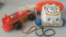 vintage fisher price toy bundle x2- fisher price telephone and fire engine