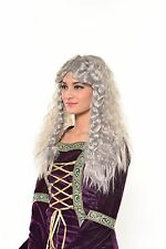 Halloween Renaissance Celtic Lord of the Ring Silver Games of Thrones Wig G541
