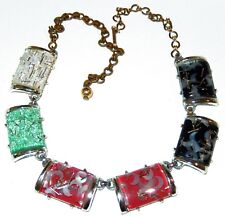 Vintage Thermoset Confetti Necklace Square Shape White Green Red Black Squares