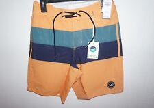 NWT HOLLISTER MENS MULTI ORANGE STRIPE ICONIC CLASSIC FIT SWIM BOARD SHORTS 28