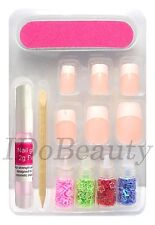 12 French Tip False Nails + Nail Art Stickers Hearts Stars Shapes Mixed Colours