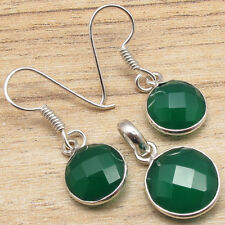 925 Silver Plated Earrings & Pendant SET, Real GREEN ONYX Gemset Fashion Week