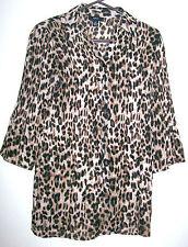 Womens Crinkle Blouse Shirt Top Alfani Leopard Animal Print 10P NWOT