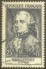 "FRANCE TIMBRE STAMP N°1030 ""COMTE DE VERGENNES 25F+8F"" OBLITERE TB"