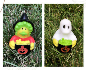 """Set of 2 New Halloween Witch & Ghost Rubber Duckies Duck 2"""" Jeep"""