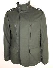 Ben Sherman Mens Coat Peacoat 4 Button Wool Blend Dark Forest Green Size Large