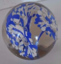 Vintage Clear Blue White Paperweight Trumpet Art Glass Flower