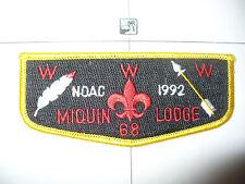 OA Miquin Lodge 68,S-16,1992 NOAC BLK Flap,43,54,Watchung Council,New Jersey,NJ