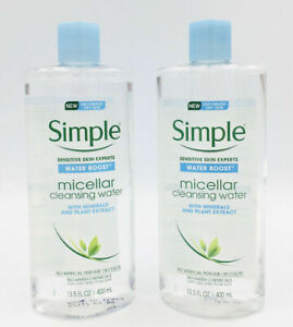 "2 Simple ""Water Boost"" Micellar Cleansing Water For Sensitive Dry Skin 13.5oz ec"