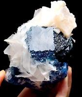 1.93lb  Rare Natural Transparent Blue Fluorite Symbiosis Calcite Specimen/China