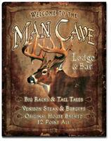 Welcome Man Cave Lounge & Bar Metal Tin Sign Decor Cabin Lake House Den Gift