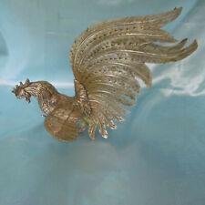 Großer Hahn aus Metall Silbern