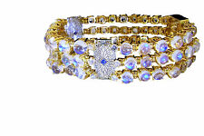 Art Deco Diamond Bracelet Sapphire Bangle Rainbow Moonstone 14K 1920s Wedding