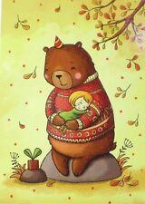 Postcard Art Teddy Bear Children Girl