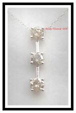 NEW GENUINE 1CT THREE DIAMOND STICK PENDANT WHITE GOLD