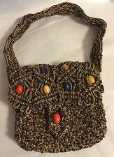 Vintage Macrame Tote w/ Wood Beads Handmade BOHO TOTE Purse Bag Heavy Weave
