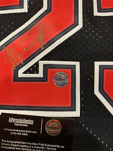 Michael Jordan Signed Autographed Chicago Bulls Black Nike Jersey With COA ID