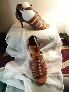 IVANKA TRUMP -Pettea Brown Leather Strappy Heel Stud Sandals Women's Shoes -sz 6